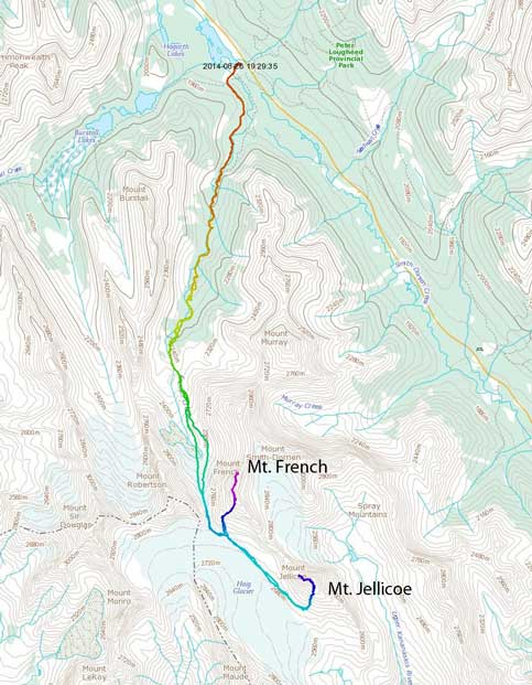 Mt. French and Mt. Jellicoe scramble route