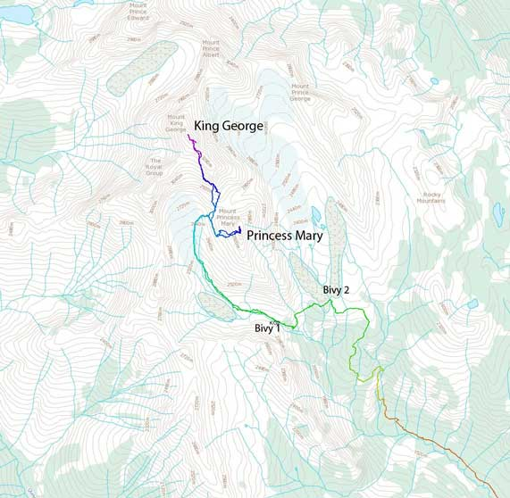 Ascent routes for Mt. King George and Mt. Princess Mary
