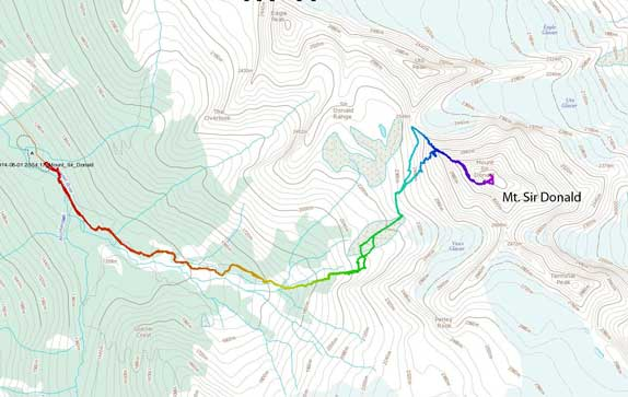 Mt. Sir Donald ascent route via NW Ridge