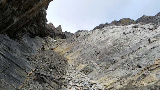 Looking up the ascending gully