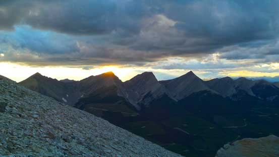 Sunset over a group of unnamed peaks