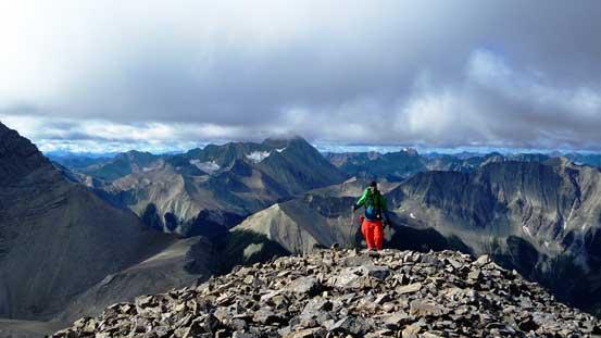 Vern cresting the summit plateau