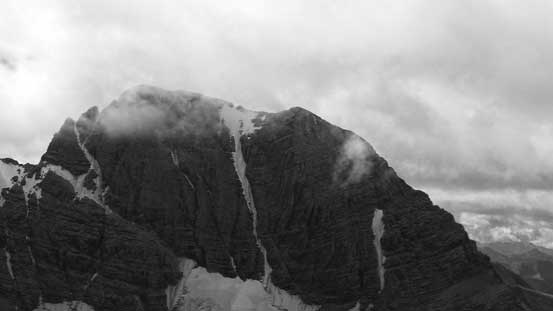A zoomed-in view of Harrison's north couloir