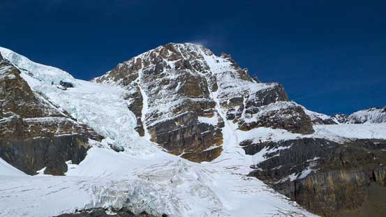 The southeast face of Diadem Peak. We could study the entire ascent route form this vantage point