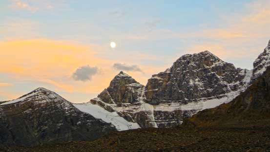 Moon rise over Stutfield Peak. Time to rest.