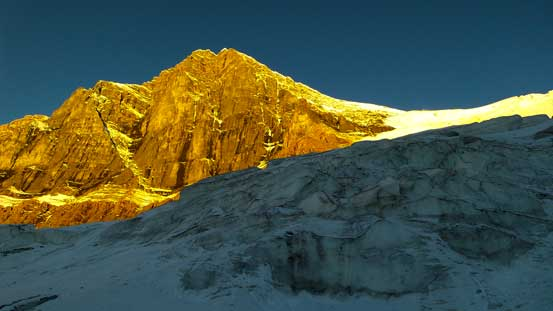 Mt. Woolley and the glacier in morning glow