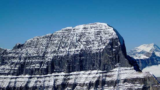 A close-up view of the East face of Mt. Alberta
