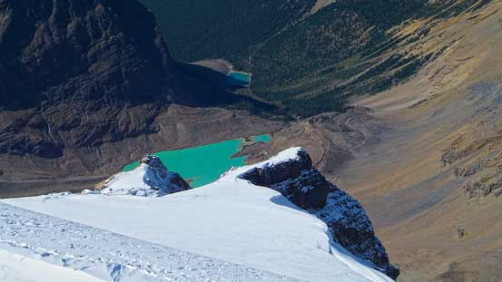 A neat glacial lake way down below