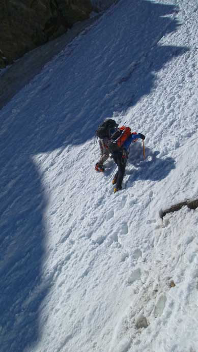 Vern and Ben down-climbing the 2nd couloir