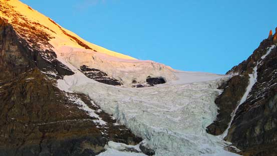 Their south glacier/icefall at alpenglow