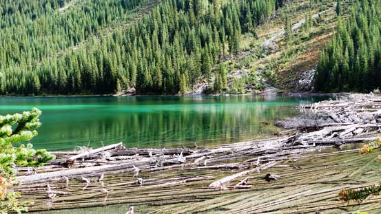 Deep green colour in the first Connor Lake
