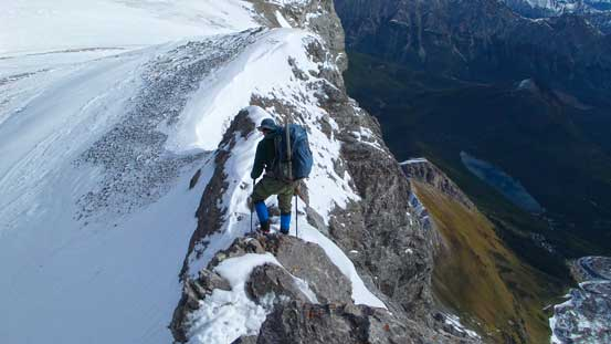 Then, balancing over a narrow section of the ridge