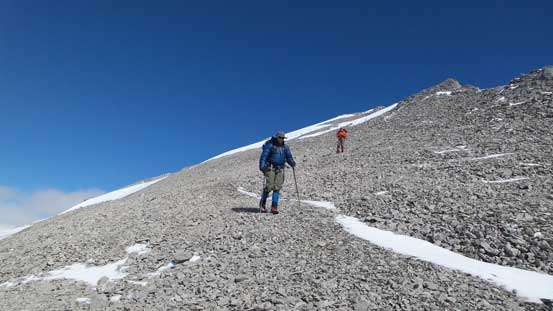 Descending from the true summit