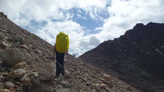 Ben arriving at North Molar Pass