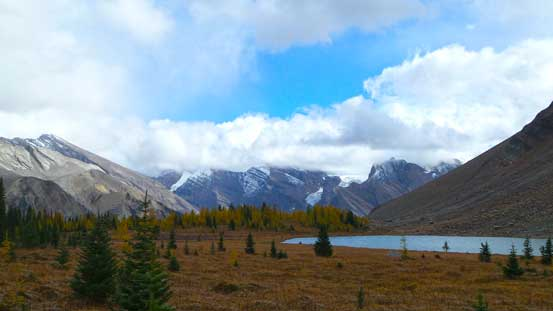 We got a break in the rain. Behind the lower Fish Lake we could see glaciers on Drummond Icefield.