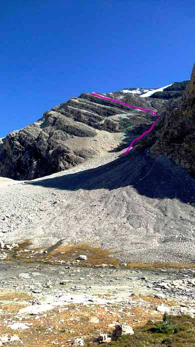 Looking back. Purple line shows our descent route while green dots is where we ascended.