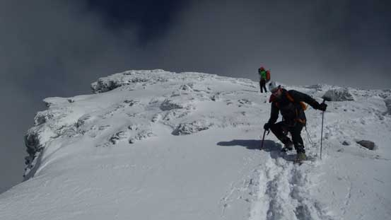 Starting the descent. Careful with crampons on.
