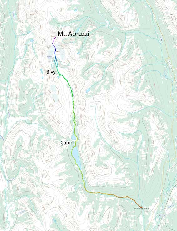 Mt. Abruzzi approach and ascent route from Conner Lakes