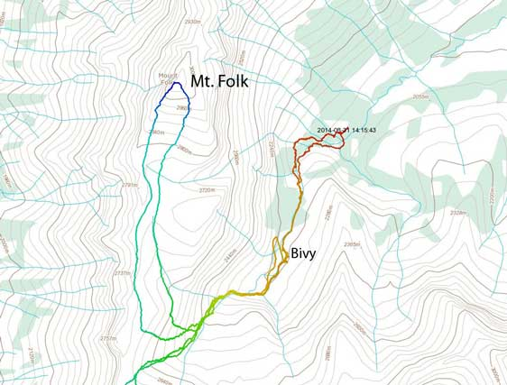 Mt. Folk scramble route