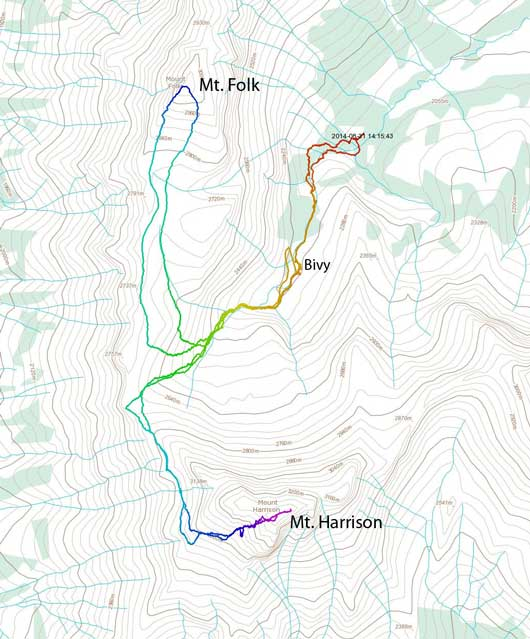 Scramble routes for Mt. Harrison (SW Face) and Mt. Folk
