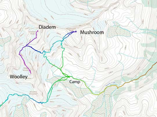 Ascent routes for Mt. Woolley, Diadem Peak and Mushroom Peak
