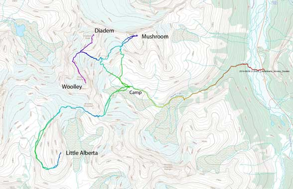Ascent routes for Little Alberta, Mt. Woolley, Diadem Peak and Mushroom Peak