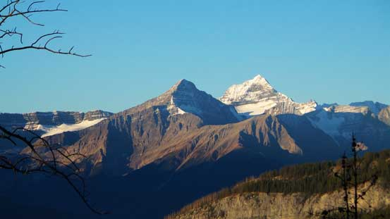 "The mighty Mt. Forbes, with Mt. Outram in front which looks oddly like ""Little Forbes""."