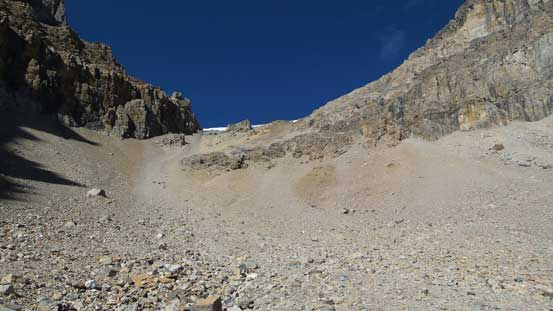 "The ""beautiful"" scree slog towards Whitegoat I/II col..."