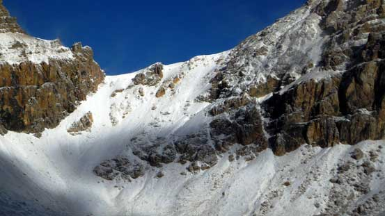 The scree slog to Whitegoat I/II col is now a snow slog...