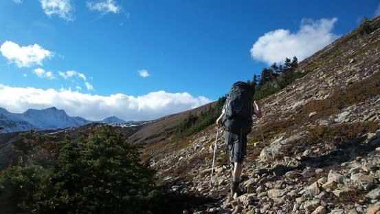Still far from our ascending ridge
