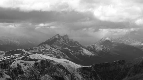Waterfall Peaks looking north. Weather appeared worse towards Jasper
