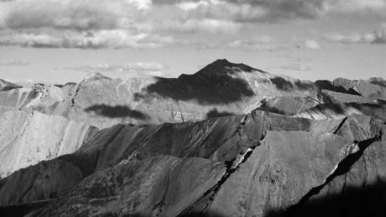 Obstruction Mountain in black-and-white. It's the highest peak in its vicinity