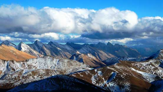 A sea of front-range peaks looking into the White Goat Wilderness
