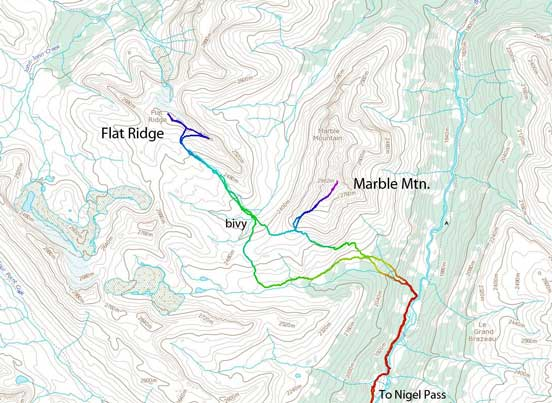 Marble Mountain and Flat Ridge scramble route