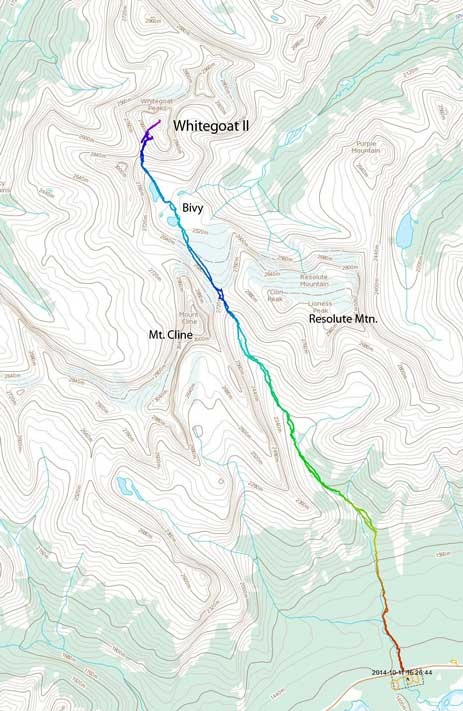 Whitegoat Peaks II ascent route