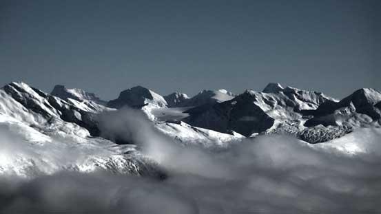Peaks on Hooker Icefield - Mt. Scott on left; Mt. Hooker on right