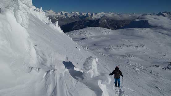 """Descending the steep slope. I certainly want stable snowpack for this ascent. There's no """"gentle"""" route up this peak."""