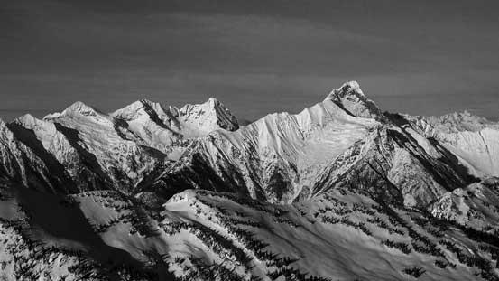Boulder Peak and Downie Peak dominates the skyline looking north