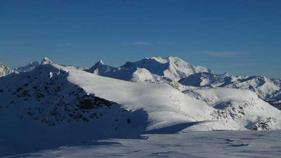 "Looking over ""Voussoir"" towards Bridgeland and Carnes Peaks"