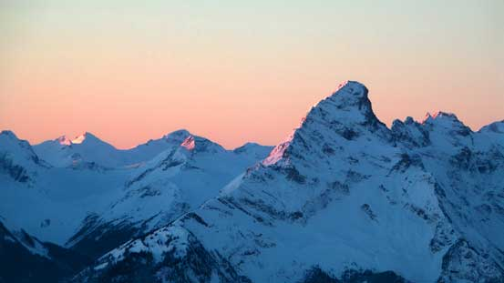 Frenchman Cap on alpenglow