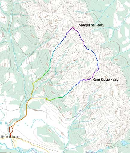 Evangeline Peak to Rum Ridge Peak scramble route