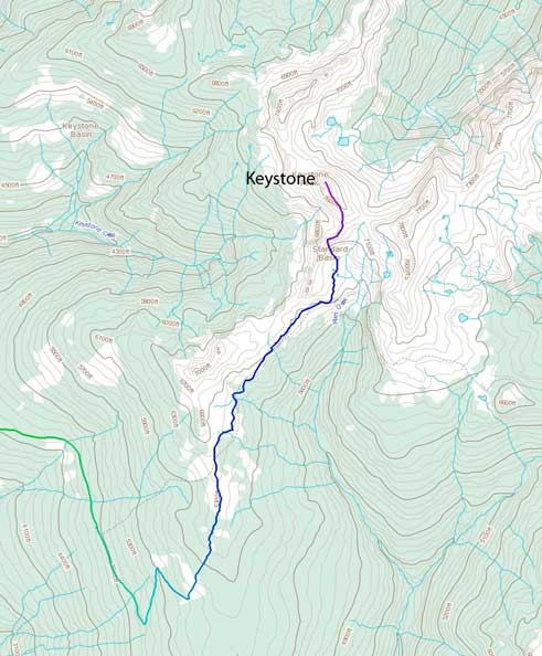 Keystone Peak hiking route