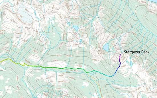 Stargazer Peak ascent route from Clemina Creek