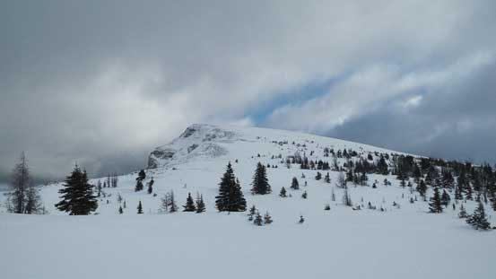 Looking up the gentle slope on this peak
