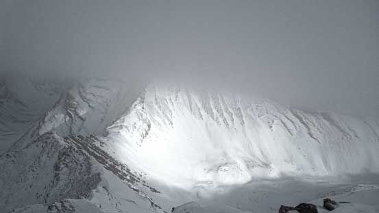 Mt. Inflexible was hidden in clouds