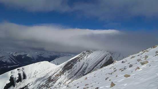 This picture shows the cloud layers... All the high peaks were soaked in