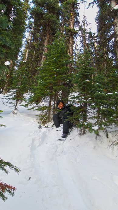 """Mom demonstrating a snowshoeing """"technique"""". Not the best but worked..."""