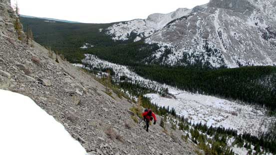 Hayden traverse a section of tedious scree