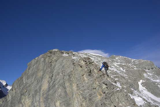 Me tackling a direct line on the ridge crest.