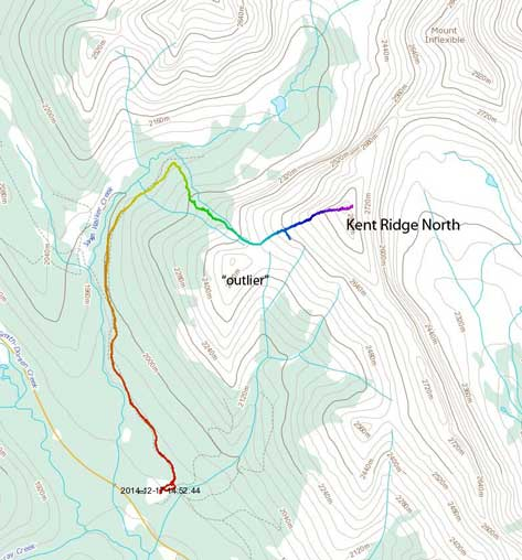 Kent Ridge North snowshoe ascent route